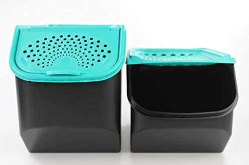 Tupperware Organizador Modular de 8,3 L para Patatas+Modular de 5,5L para cebollas y ajos Negro/Turchese