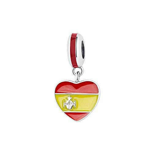 """Charm in argento Sterling 925 con ciondolo a tema """"Love to Travel"""" per braccialetti originali da donna, gioielli fai da te e NA, colore: Bandiera del cuore della Spagna, cod. Awertaweyt258477"""