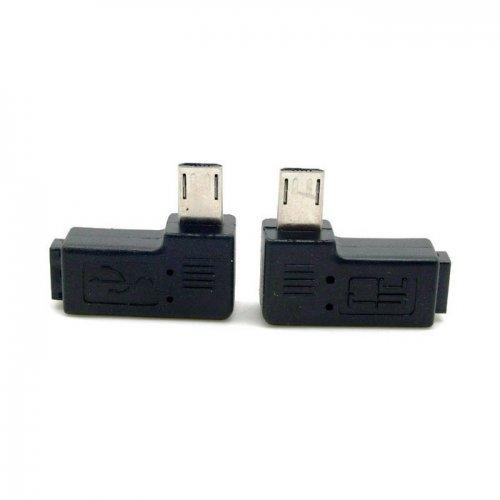 Cablecc - Adattatore di prolunga da 9 mm a 90 gradi, a sinistra e a destra, con connettore Micro USB 2.0 a 5 pin maschio a femmina, 2 pezzi