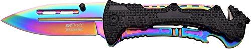 MTech USA Taschenmesser MT-A847 Serie, Messer ALU REGENBOGEN AUFSATZ Griff, scharfes Jagdmesser, Outdoormesser 8,89 cm ROSTFREI Klinge Teilgezahnt, Klappmesser für  Angeln/ Jagd