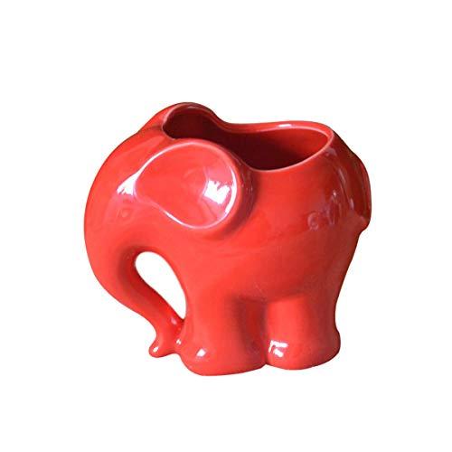 LKXHarleya Linda Maceta de cerámica con diseño de Elefante, jawaii Elefante, pequeña Maceta de Cactus para Interiores y Exteriores, pequeñas Plantas de Flores