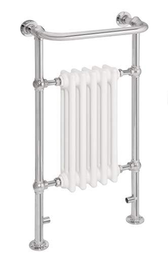 Wereldwijde traditionele Victoriaanse stijl verwarmd handdoek Rails voor badkamer met radiator voor centrale verwarming handdoekenrek, vloer gemonteerd handdoek Warmer Rack wit & chroom afgewerkt 5 kolom 952 X 500 X 225 MM