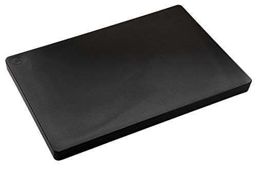 Restaurant Thick Black Plastic Cutting Board, 18x12 NSF, FDA Approved, 1 Inch Thick