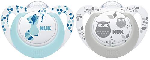 NUK 10177162 Genius Color Silikon-Schnuller, kiefergerechte Form, 18-36 Monate, 2 Stück, blau & grau