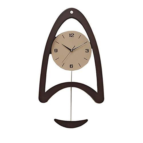 Reloj de Pared Inteligente Fotosensible Mudo Madera Reloj de Pared Columpio Péndulo Sensor de luz LED Batería Decoración for el hogar Reloj de Pared para Sala de Estar (Color : Black)