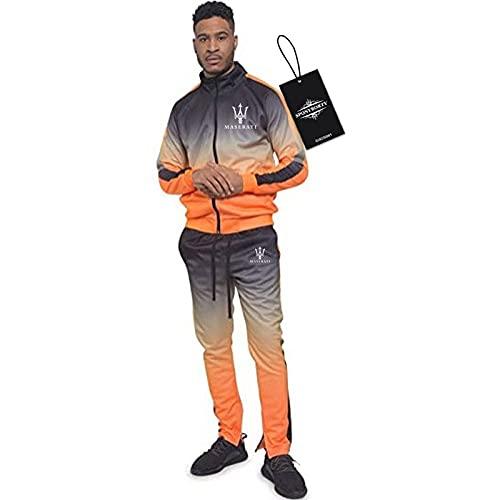 BOYASI de Los Hombres Chandal Conjunto Trotar Traje Ma-sera-ti Hooded Zipper Chaqueta + Pantalones Capucha Baloncesto Ropa Niños/Naranja/XL