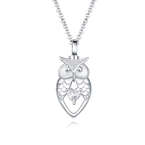 JXJL Sterling Silver Owl Urn Necklace for Ashes Crystal Heart Cremation Memorial Jewelry-Always in My Heart