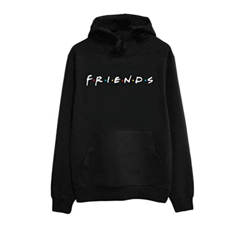 U/A Mujeres Niñas Sudaderas Casual Estampado Carta Friends Sweatshirt con Bolsillo Pullover de Manga Larga con Capucha (Negro #Encapuchado, S)