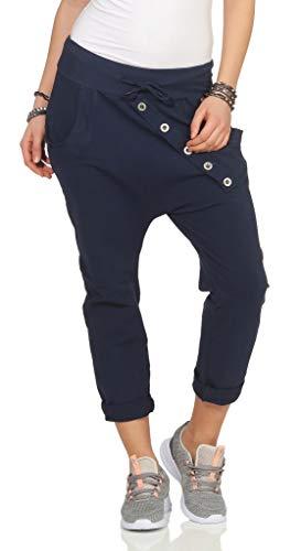 295 Damen Hose Sweatpants Jogginghose Baumwolle Freizeithose Boyfriend Bagg Sporthose mit Gummibund Blau