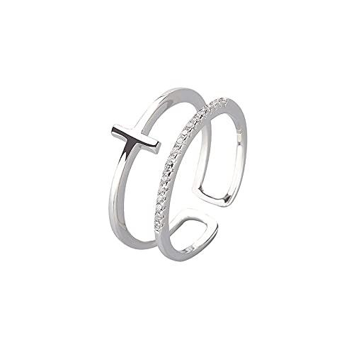 XIANNVQB 925 Silberringe - 925 Sterling Silber Geometrische Kreuz Persönlichkeit Finger Ring Für Frauen Geburtstag Party Schmuck Zubehör Ring, Silber, Verstellbar
