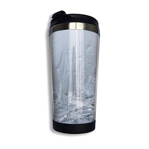 Yuanmeiju Taza de café de viaje Hardest Window Ice Eiskristalle Frozen Winter Double Wall Coffee Cup Personality Pattern Mug Coffee Travel Stainless Coffee Cups Travel Mug with Lid 14oz