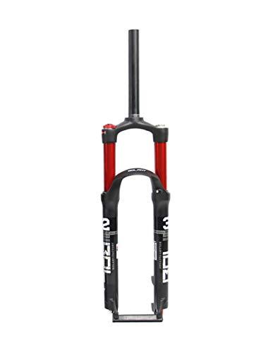 GOEXM Horquilla de Bicicleta MTB de 26 Pulgadas, Tubo Recto de suspensión Delantera de Bicicleta roja de Aire Dual para Accesorios de Ciclismo
