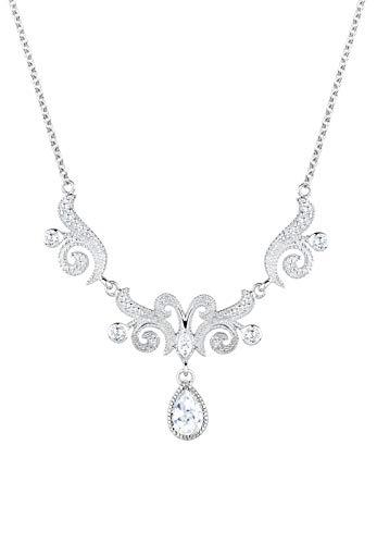 Elli PREMIUM Halskette Damen Collier Ornament mit Zirkonia Kristalle in 925 Sterling Silber