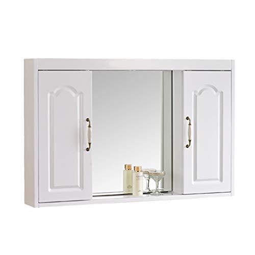 Casier De Salle De Bain En Bois Massif Armoire À Miroir Dissimulé Miroir De Salle De Bain Avec Étagère Armoire À Miroir, Porte Miroir Push-pull (Color : Blanc, Size : 80 * 65 * 14cm)