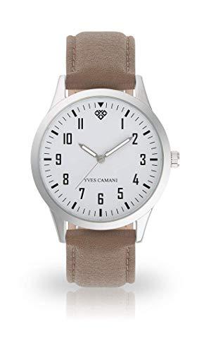 YVES CAMANI UNISSON Armbanduhr Analog Quarz weißes Zifferblatt Leder Mesh Edelstahl (Leder - Grau)