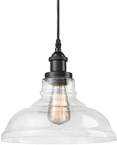 Waqihreu Lámpara Colgante de iluminación Colgante de Vidrio con Pantalla de Vidrio Transparente,lámpara de Cocina Edison Farmhouse Ajustable para Mesa de Comedor,restaurantes,hoteles y Tiendas
