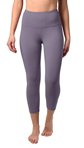 "90 Degree By Reflex High Waist Squat Proof Capris - 22"" Interlink Workout Capris - Frosted Grape - Small"