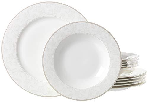 Ritzenhoff & Breker Isabella - Vajilla (12Piezas, Fina Porcelana China), Color Blanco con decoración, Porcelana de Ceniza de Hueso, weiß mit ornamenten, 31 x 28 x 33 cm