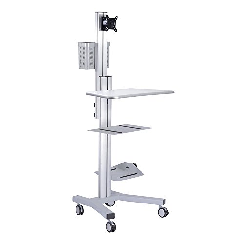 AW 4-Wheel Desktop PC Mobile Cart 25x22x69' Monitor Mount Printer Deck Computer Desk Workstation Silver