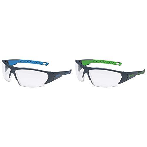 Uvex i-Works Schutzbrille 9194 - Kratzfest & Beschlagfrei, 100% UV-400-Schutz - Arbeitsbrille mit Antibeschlag- und Antikratz-Beschichtung & I-Works Schutzbrille - Schw.-Grün/Transparent