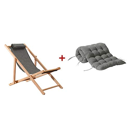 ZHongWei-- Solid color simple overall gray with cushions foldable solid wood chair home single recliner beech wood recliner outdoor chair old man recliner beach chair, 2 styles (Size : A)