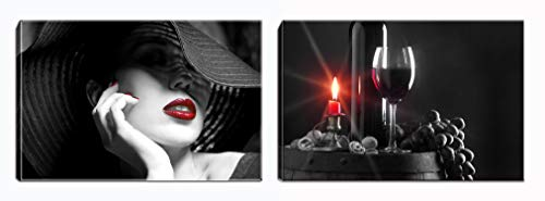 Canvas Wall Art- Black and Red Sexy Woman Lips and Wine Painting Picture Stretching Ready to Hang for Living Room Bedroom Home Decorations (Wine)