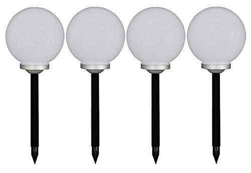 Trango 4er Set 20cm Durchmesser LED Solar Gartenkugel TG-SL20-4 Solarleuchte, Solarkugel, Solar Leuchtkugel incl. Erdspieß, Solar Außenleuchte, Kugellampe, Außenlampe, Gartenleuchte