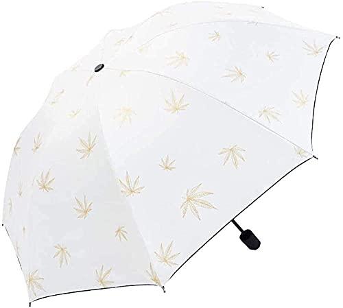 LHJCN Paraguas, Paraguas Plegable fácil de Llevar Paraguas Plegable Manual Paraguas con Estampado de Tres Pliegues Paraguas Compacto y para el Sol y para la Lluvia - Sombrilla para Exteriores Port