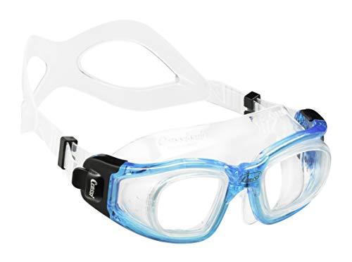 Cressi Galileo, Occhialini Nuoto con Lenti Vetro Temperato Unisex-Adulto, Trasparente/Azzurro, Taglia Unica
