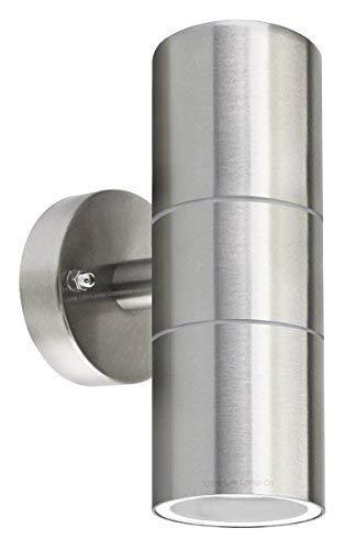 Long Life Lamp Company, Applique in acciaio inox, emissione di luce dall'alto e dal basso, stile moderno, grado di protezione IP65, attacco: GU 10, led, elettrico, acciaio inossidabile