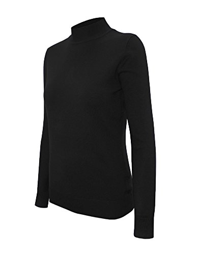 Cielo Women's Solid Basic Stretch Mock Neck Pullover Knit Sweater Black M