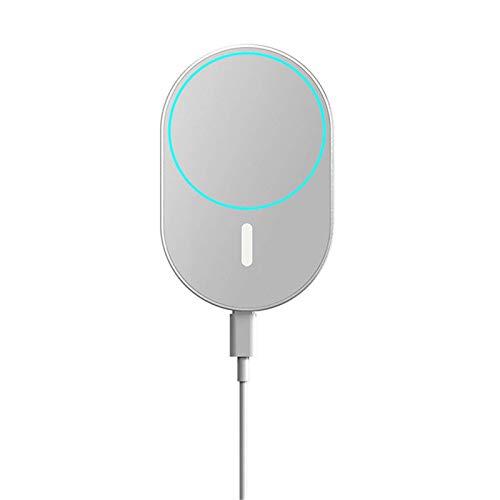 Adecuado para iPhone 12 12Pro Max HaloLock, Magsafe Fast Cargador inalámbrico Pad Soporte para teléfono para automóvil Marco con clip Montaje de ventilación Ranura para portavasos (Gris)