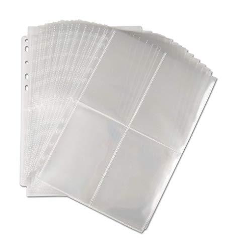 Arkero-G® 100 Seiten 4-Pocket Photo Pages - A4 Foto-Hüllen / Sammel-Album & Kartei-Karten Hüllen mit 4-Fächer - Aufbewahrung Büro Basteln Schule