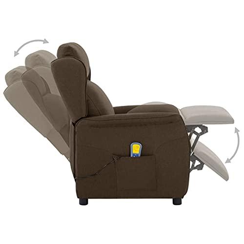 Susany Massagesessel mit Wärmefunktion Fernsehsessel Relaxsessel TV Sessel Liegesessel Elektrisch Ruhesessel Massage Chair Liegefunktion 6 Punkt-Vibrationsmassage Braun Stoff