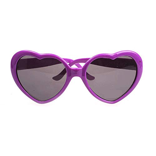 Fashion Large Women Lady Girl Oversized Heart Shaped Retro Sunglasses Cute Love Eyewear (purple)