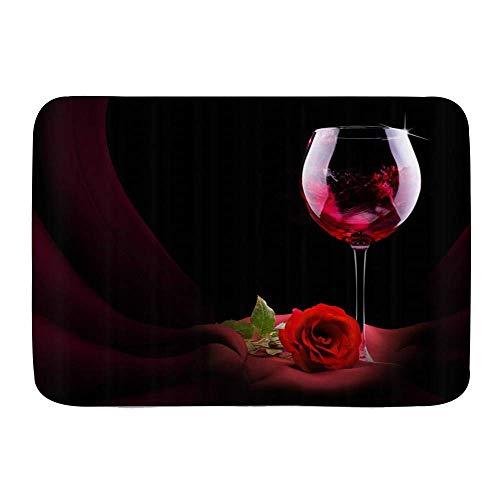N\A Alfombrillas de Puerta, Rosa roja y Vino Tinto Tema de Amor romántico Misterioso, Piso de Cocina Alfombra de baño Alfombra Absorbente Decoración de baño Interior Felpudo Antideslizante