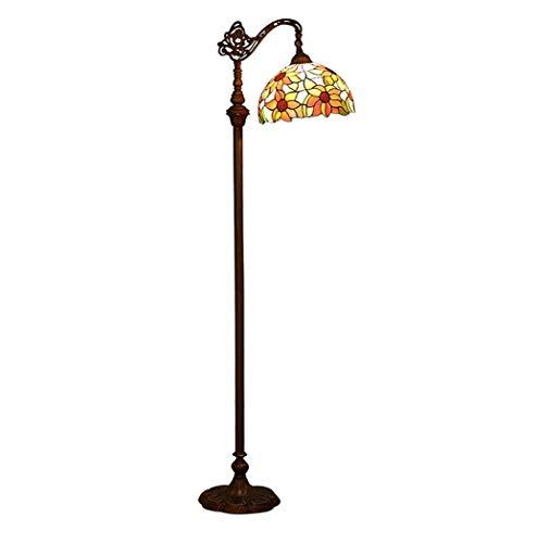 Yjmgrowing Tiffany stijl vloerlamp met zonnebloem gekleurd glas antieke gebogen tafel bureau staande verlichting voor woonkamer slaapkamer set verlichting armatuur met voet schakelaar, 110-240V, E27