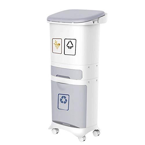 Mülltonne Trash Can - Neu 1/2/3 Layer-Sortierung Trash Can, Küche Kunststoff Trash Can, Nass- und Trocken Recycling Stacking Sorting Abfalleimer Mit Rädern, schön und praktisch Durable sauber und orde