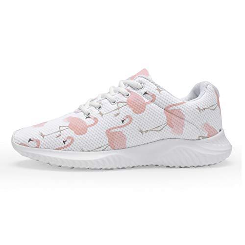 Mädchen Damen Laufschuhe Turnschuhe Sneaker Leicht Straßenlaufschuhe Rosa Flamingo Design Wanderschuhe Trainer Sportschuhe für Jungen Mädchen Größe 35-47 White 40