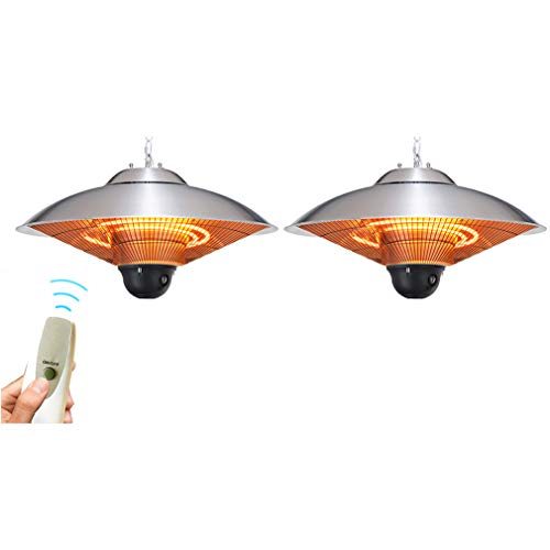 CHRYS 2100W Industry Hanging Heater, Ceiling Patio Heater Waterproof IP34-3 Power Levels with Remote Control,for Balcony Courtyard Ceiling Mounted Style(Costs 1 Unit - Get a packagewith Two Units)