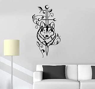 V-studios Vinyl Decal Sword Wolf Animal Predator Tribal Decor Wall Stickers Mural VS527
