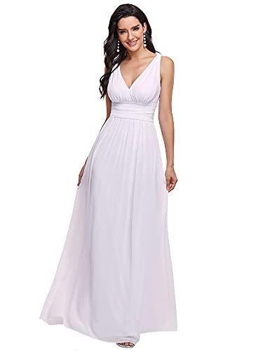 Ever-Pretty Robe de Soirée Longue Femme pour Mariage Décolleté en V en Mousseline de Soie Blanche 54
