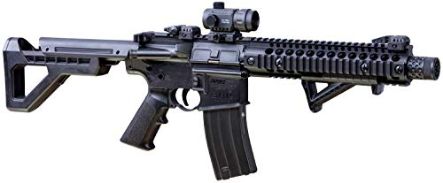 DPMS Full Auto SBR CO2-Powered BB Air Rifle with Dual Action Capability And Red Dot Sight, Black DSBRX