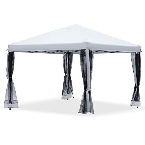 Outsunny 10' x 10' Heavy Duty Pop Up Canopy with Removable Mesh Sidewall Netting, Easy Setup Design, Outdoor Party Event with Storage Bag, American Cream White