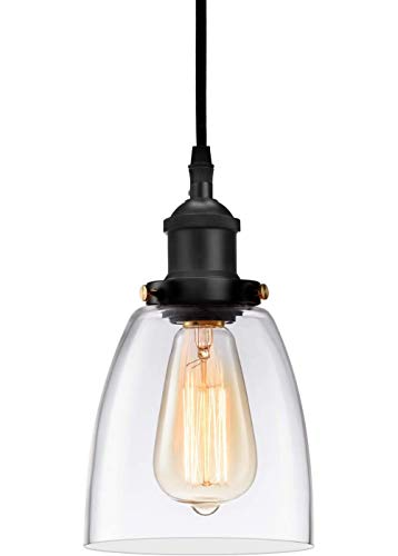 Kitchen Mini-Pendant Light Industrial Hanging Light Island Clear Glass Adjustable Nylon Core Ceramic...
