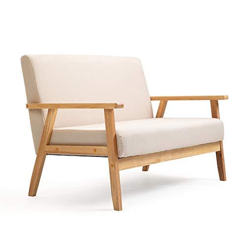 Mingone Sofa 2-Sitzer Sessel Couch Holz Stoff Leinen für Schlafzimmer Lounge Wohnzimmer Büro Garten Hof (Beige,113,5 x 67 x 73,5 cm)