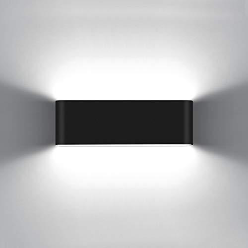 KAWELL 20W Moderno Applique da Parete LED Lampada da Parete Alluminio Lampada da Muro Impermeabile IP65 Interno Esterno per Camera da Letto Bagno Soggiorno Scale Portico Corridoio, Nero 6000K
