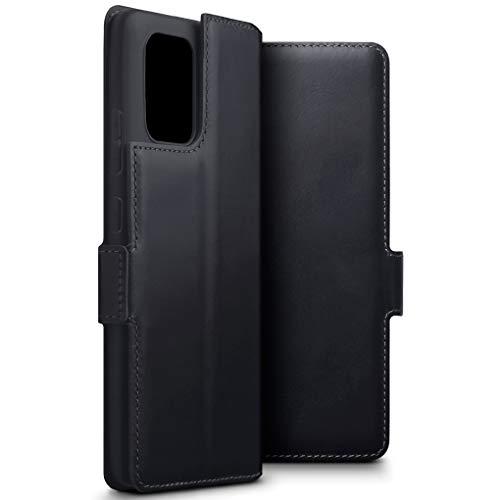 TERRAPIN, Kompatibel mit Samsung Galaxy S10 Lite / A91 Hülle, Premium ECHT Spaltleder Flip Handyhülle Samsung Galaxy A91 / S10 Lite Hülle Tasche Schutzhülle, Schwarz