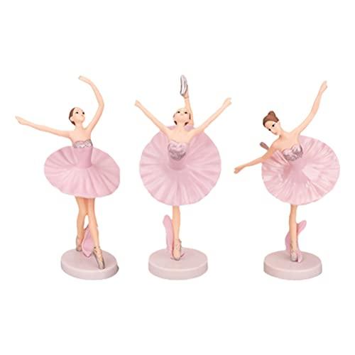 TOYMYTOY Bailarina Adornos Niños Bailarina Chica Modelos Bailarina Ornamento del Árbol de Navidad para Niñas Decoración de Escritorio 3Pcs (Rosa)