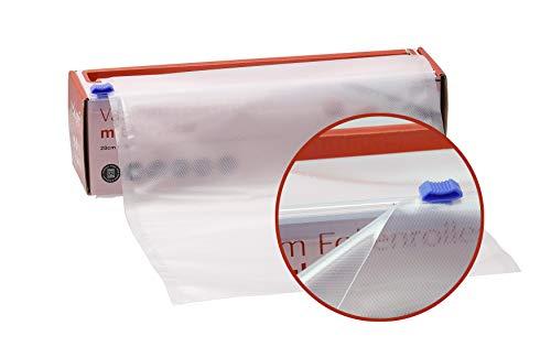 Velopé Vakuumrollen inklusive Cutter-Box | 28cm x 12m Folienrolle mit beidseitiger Prägung | Vakuumierfolie geeignet für alle Vakuumierer | Vakuumbeutel BPA-Frei - ideal für Sous Vide garen